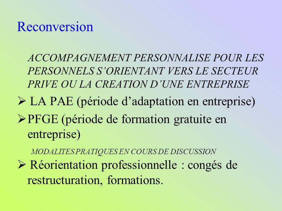 Reconversion  LA PAE (période d'adaptation en entreprise)