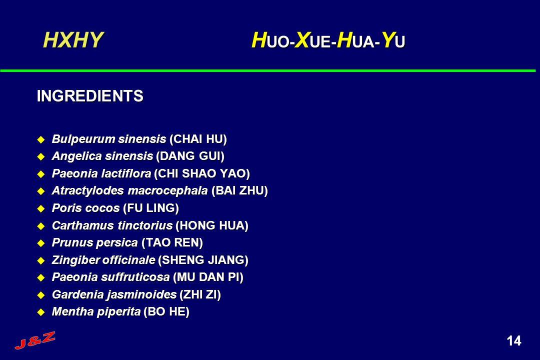 HXHY HUO-XUE-HUA-YU INGREDIENTS J&Z Bulpeurum sinensis (CHAI HU)