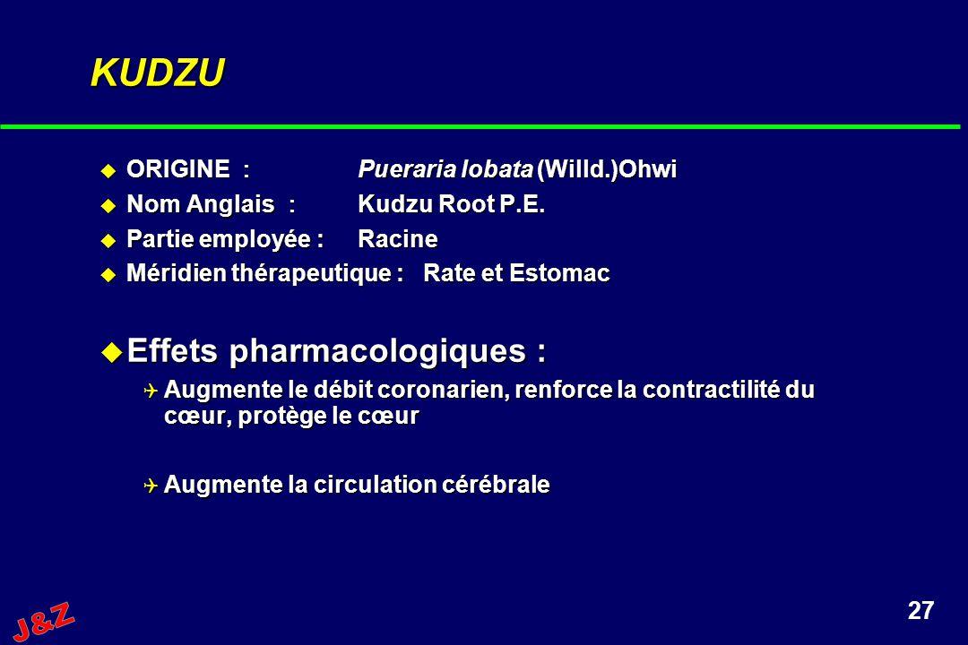 KUDZU Effets pharmacologiques : J&Z