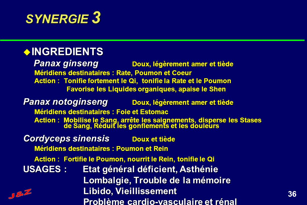 SYNERGIE 3 INGREDIENTS. Panax ginseng Doux, légèrement amer et tiède. Méridiens destinataires : Rate, Poumon et Coeur.