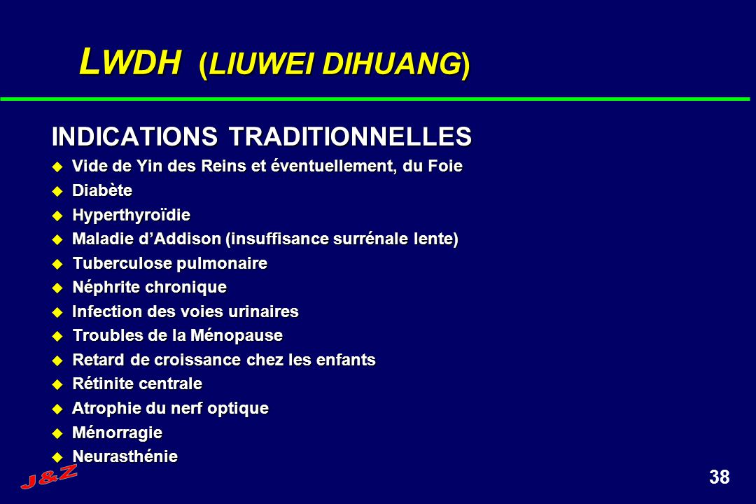 LWDH (LIUWEI DIHUANG) INDICATIONS TRADITIONNELLES J&Z