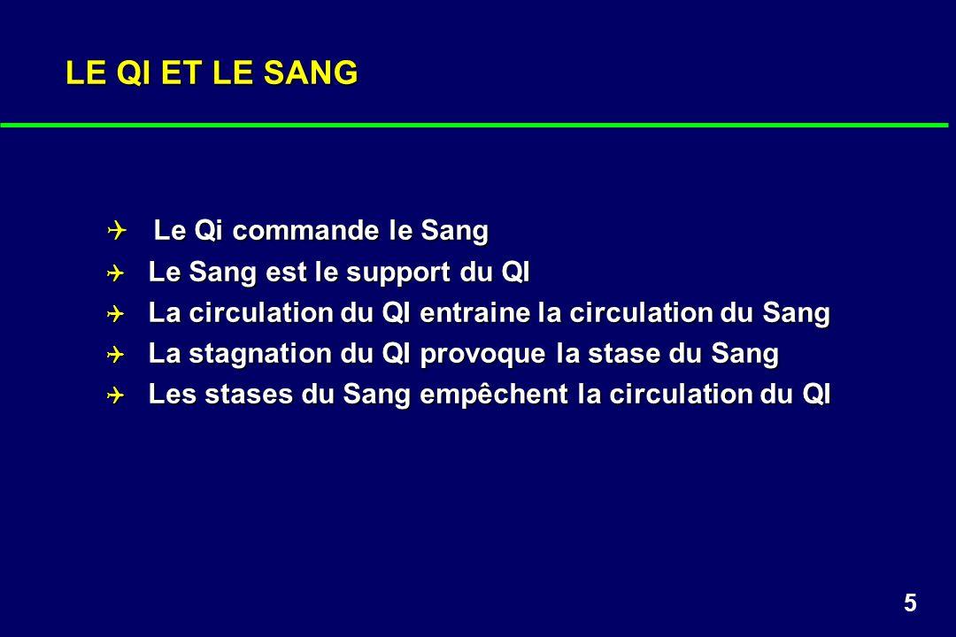 LE QI ET LE SANG Le Qi commande le Sang Le Sang est le support du QI