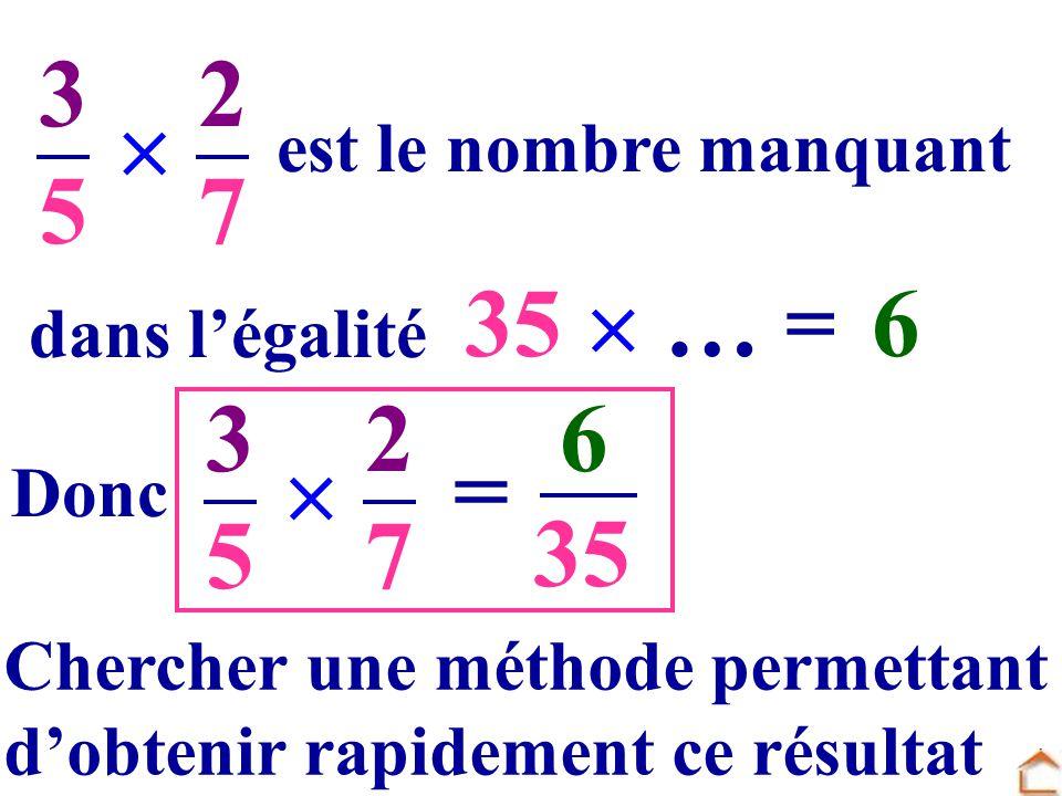 3 5 2 7  35 ..  … = ... 6 3 5 2 7  6 = 35 est le nombre manquant