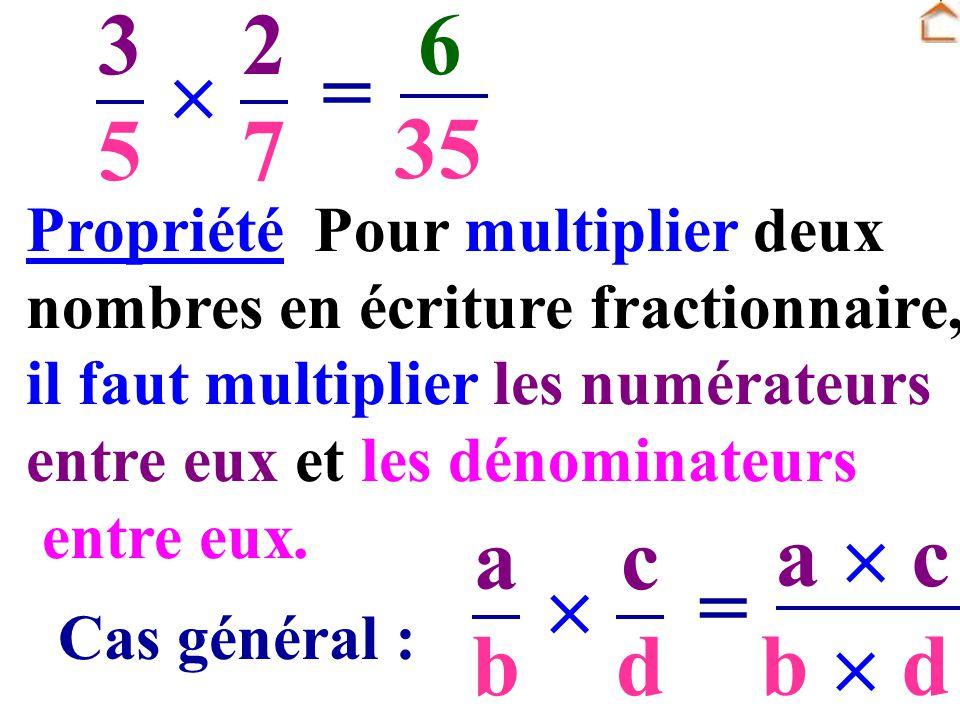 3 5 2 7  6 = 35 a b c d  a  c = b  d Pour multiplier deux