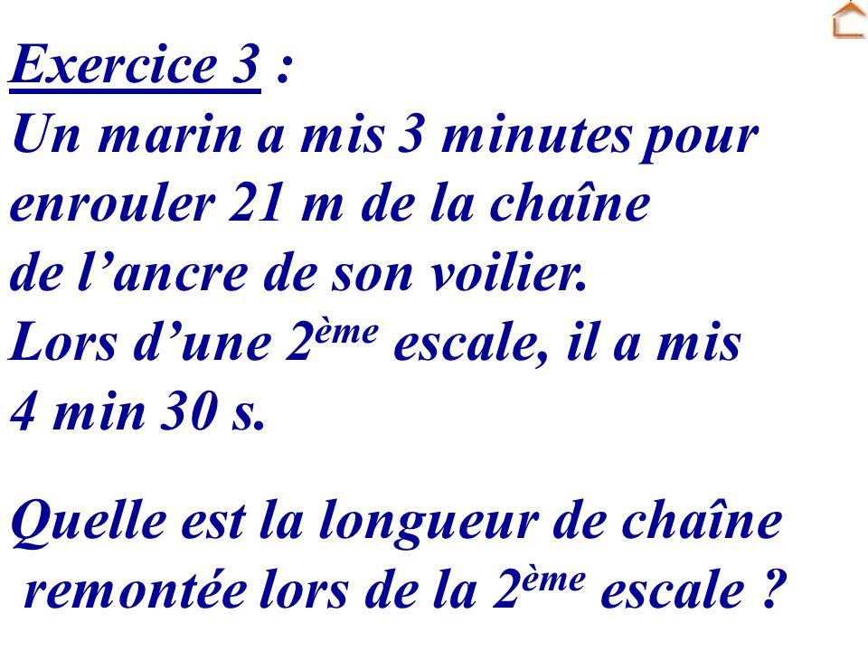 Exercice 3 : Un marin a mis 3 minutes pour enrouler 21 m de la chaîne de l'ancre de son voilier. Lors d'une 2ème escale, il a mis 4 min 30 s.