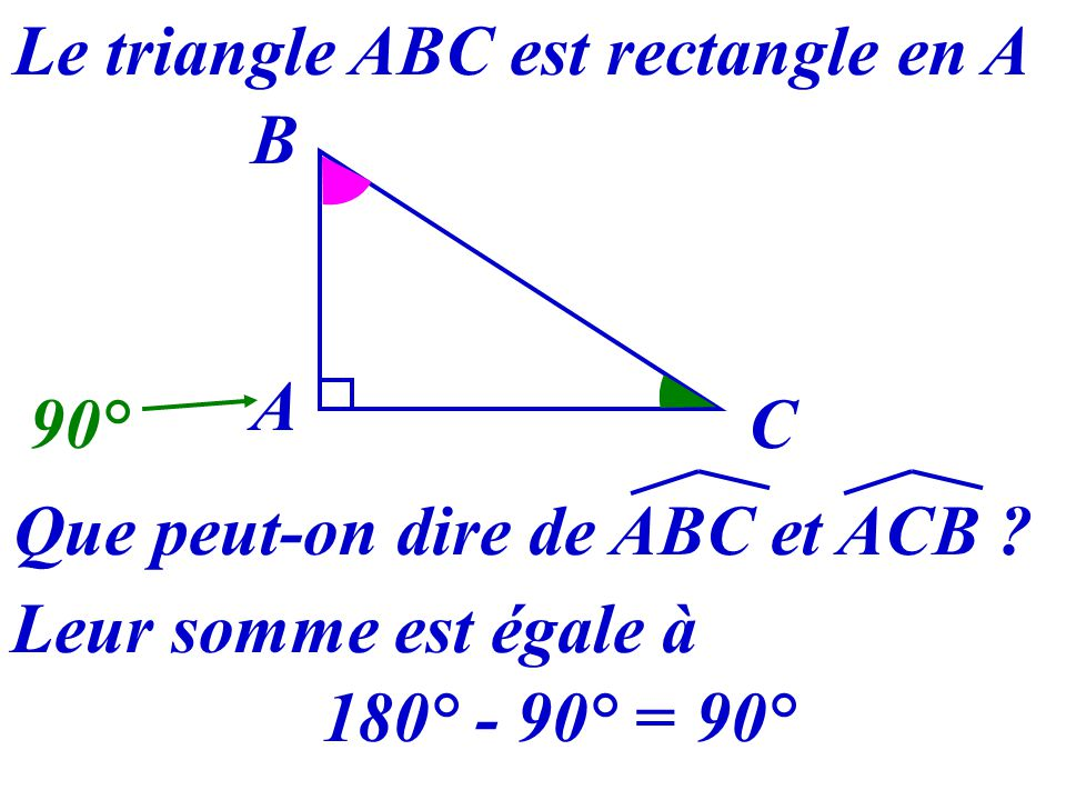 Le triangle ABC est rectangle en A Que peut-on dire de ABC et ACB