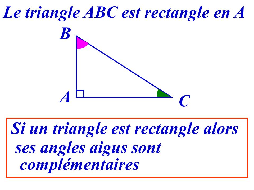 Le triangle ABC est rectangle en A Si un triangle est rectangle alors