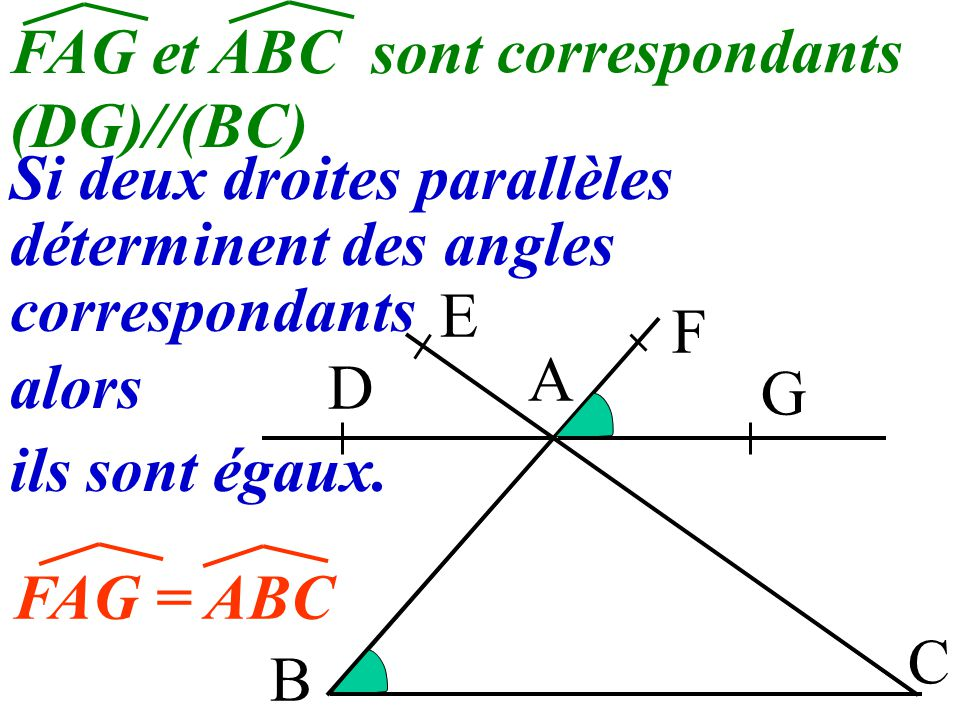 FAG et ABC sont correspondants. (DG)//(BC) Si deux droites parallèles. déterminent des angles. correspondants.