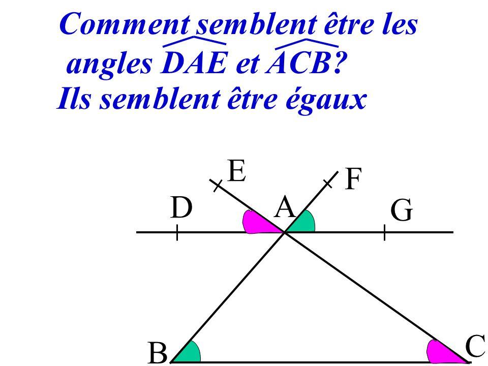 Comment semblent être les angles DAE et ACB