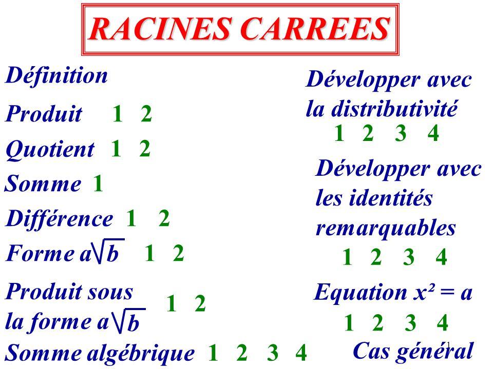 RACINES CARREES Définition Développer avec la distributivité Produit 1