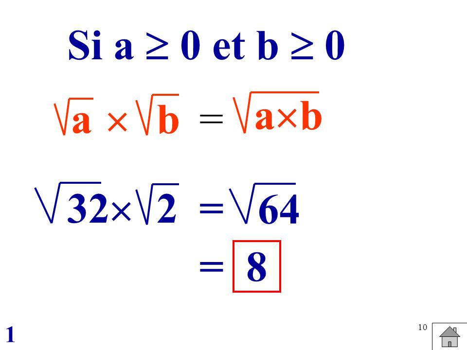 Si a  0 et b  0 ab a  b = 32 2  = 64 = 8 1