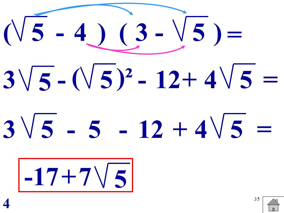 ( 5 - 4 ) ( 3 - 5 ) = ( )² 3 - 5 - 12 + 4 5 = 5 3 5 - 5 - 12 + 4 5 = -17 + 7 5 4