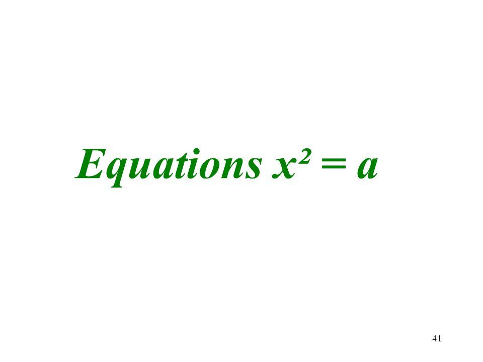 Equations x² = a