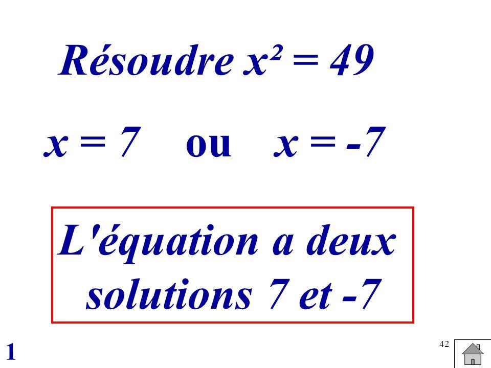 Résoudre x² = 49 x = 7 ou x = -7 L équation a deux solutions 7 et -7
