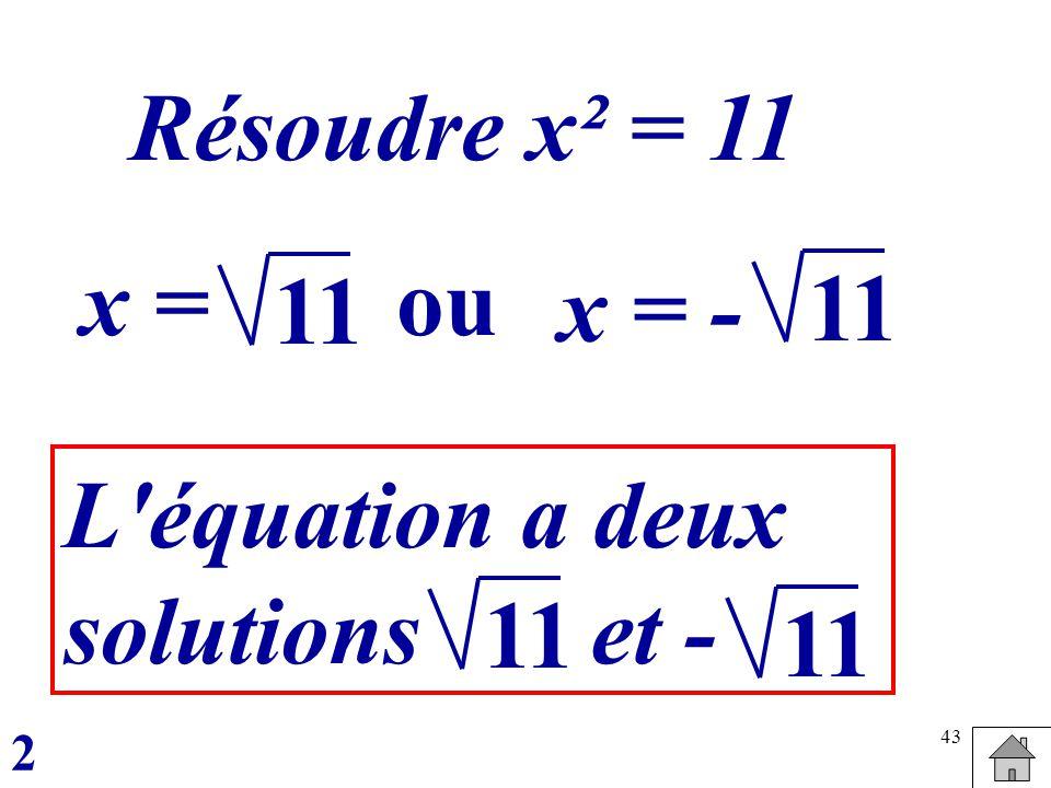 Résoudre x² = 11 x = ou 11 x = - 11 L équation a deux solutions et -