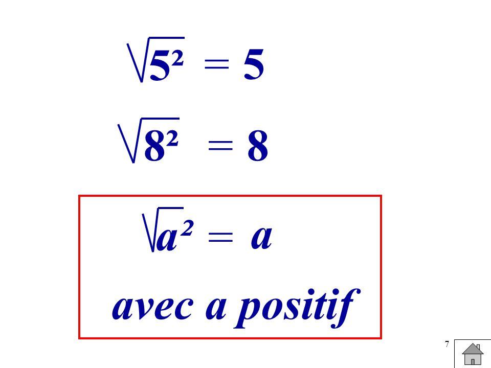 5² = 5 8² = 8 a² a = avec a positif