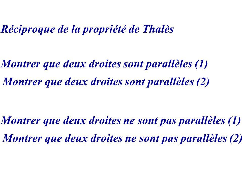Réciproque de la propriété de Thalès