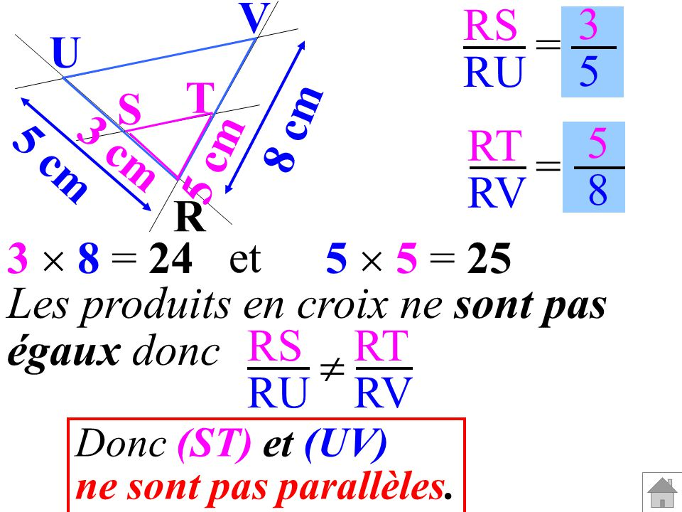 Les produits en croix ne sont pas égaux donc RS RU RT RV 