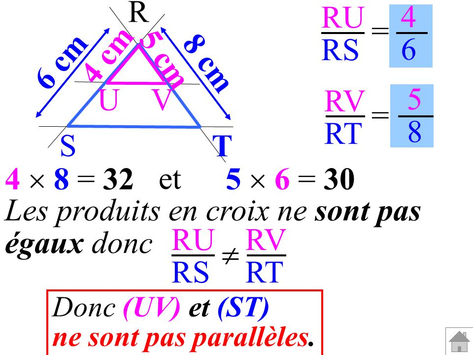 Les produits en croix ne sont pas égaux donc RU RS RV RT 