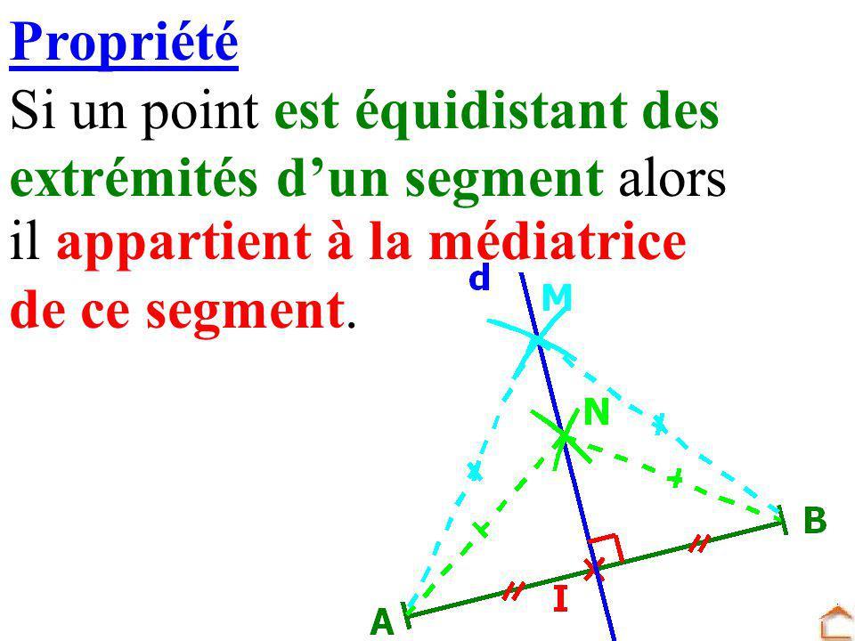 Propriété Si un point est équidistant des. extrémités d'un segment alors. il appartient à la médiatrice.