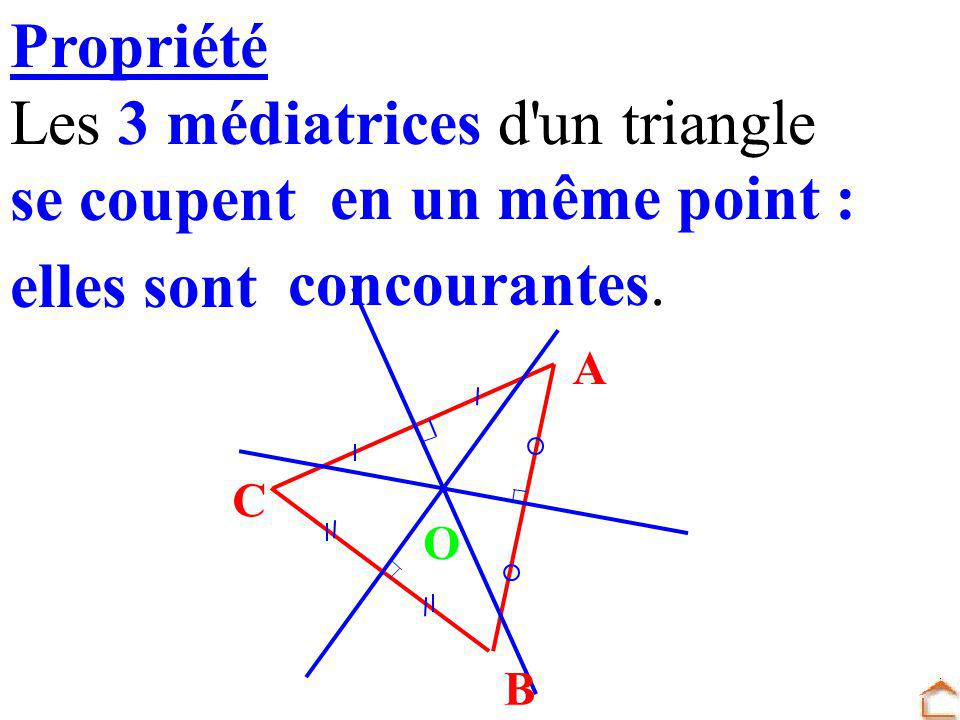 Les 3 médiatrices d un triangle se coupent en un même point :
