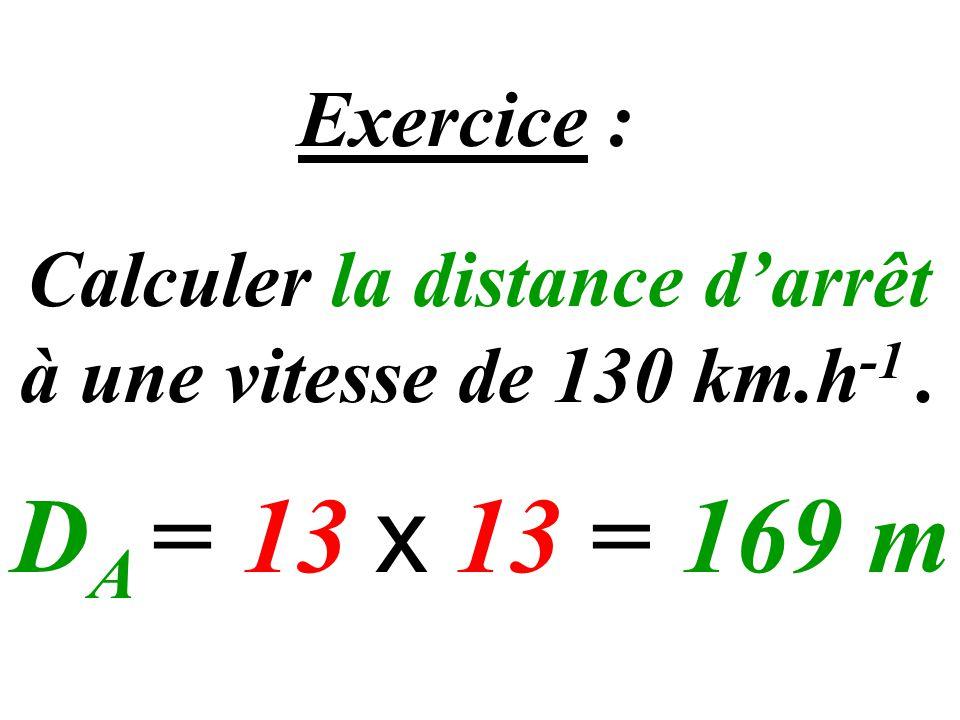 Calculer la distance d'arrêt