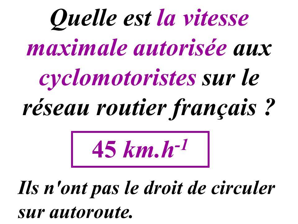 Quelle est la vitesse maximale autorisée aux cyclomotoristes sur le réseau routier français