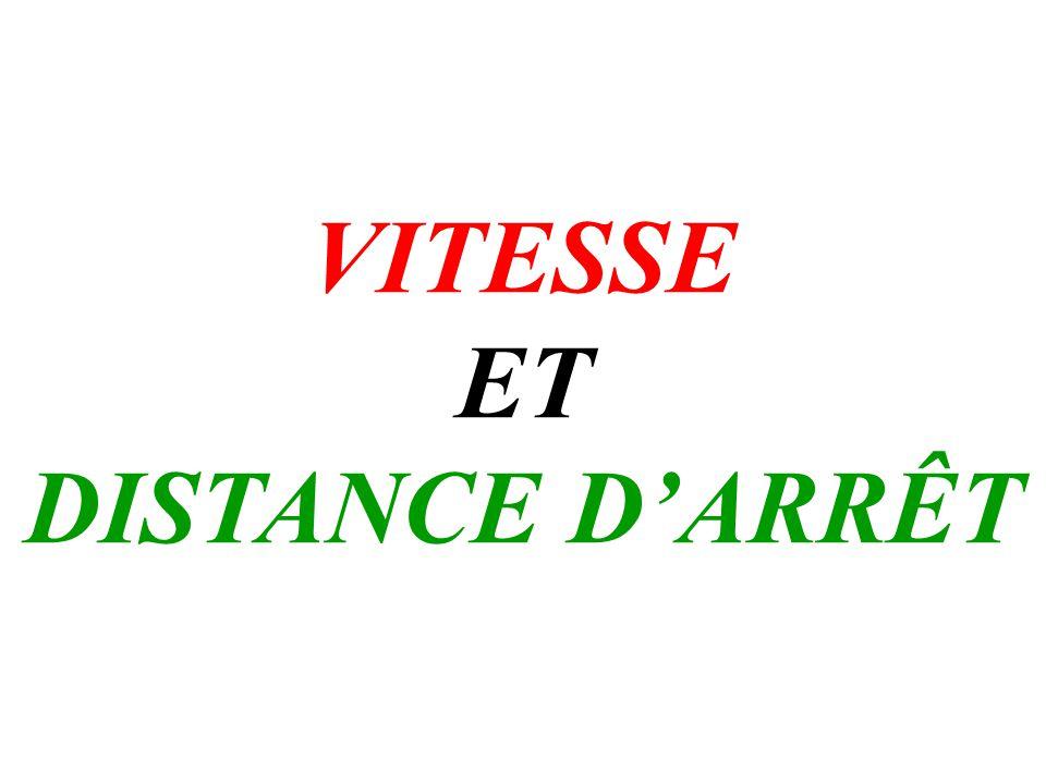 VITESSE ET DISTANCE D'ARRÊT