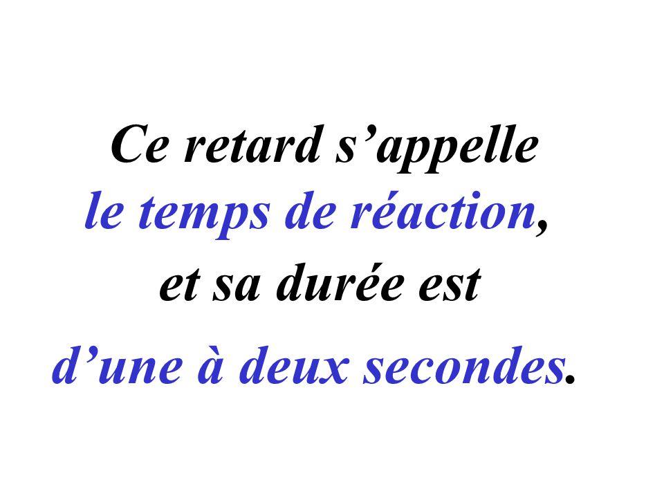 Ce retard s'appelle le temps de réaction, et sa durée est d'une à deux secondes.