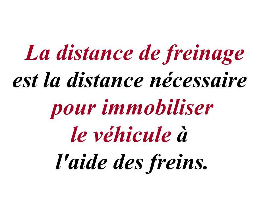 La distance de freinage est la distance nécessaire