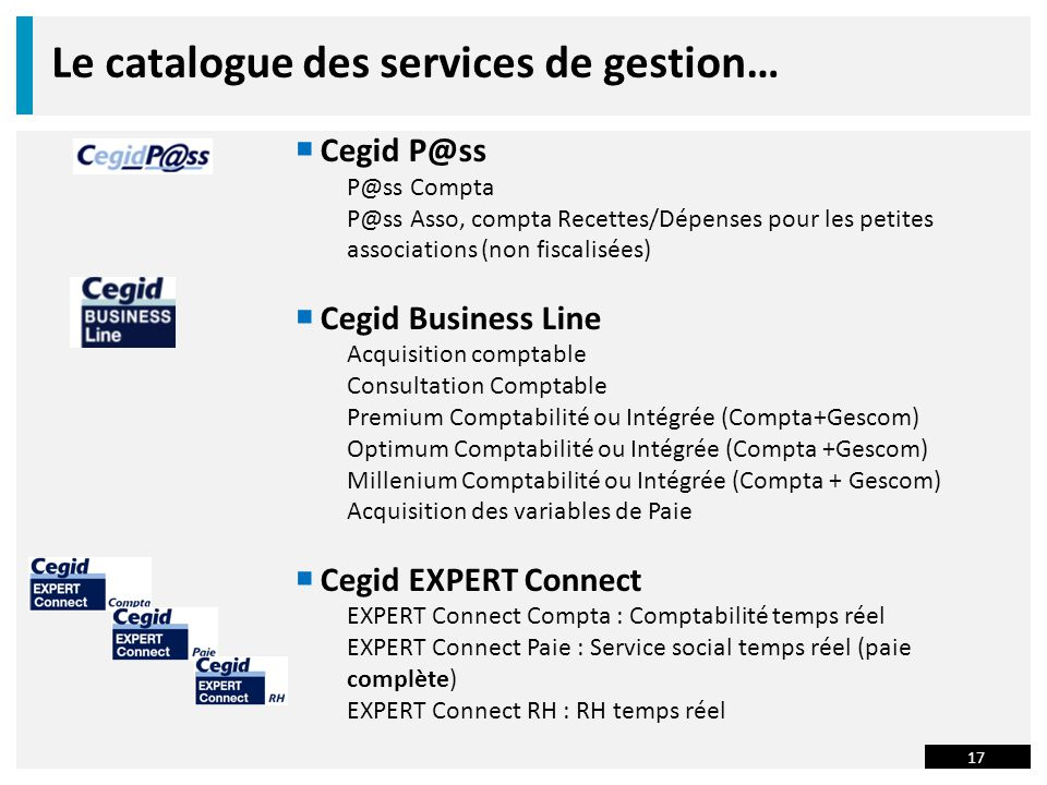 Le catalogue des services de gestion…