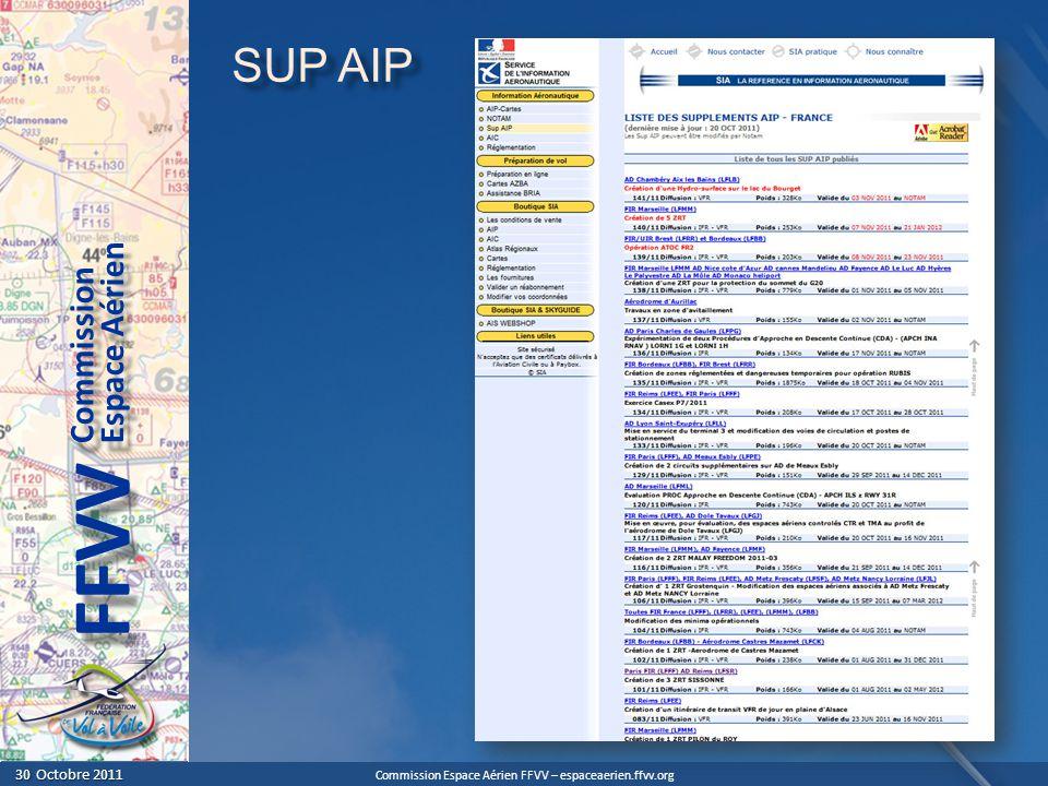 SUP AIP En cliquant sur le lien SUP AIP, on tombe sur la partie dédiée du site du SIA.