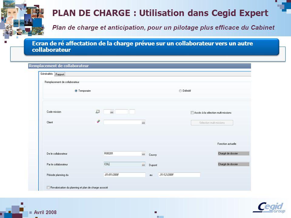 PLAN DE CHARGE : Utilisation dans Cegid Expert
