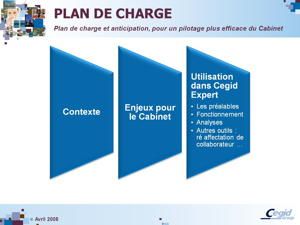 PLAN DE CHARGE Plan de charge et anticipation, pour un pilotage plus efficace du Cabinet