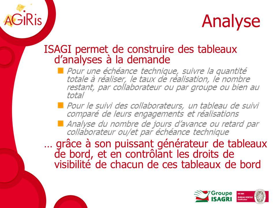 Analyse ISAGI permet de construire des tableaux d'analyses à la demande.
