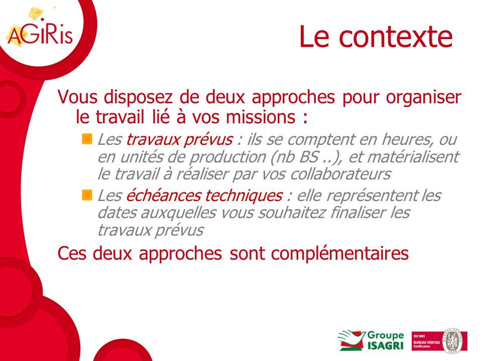 Le contexte Vous disposez de deux approches pour organiser le travail lié à vos missions :