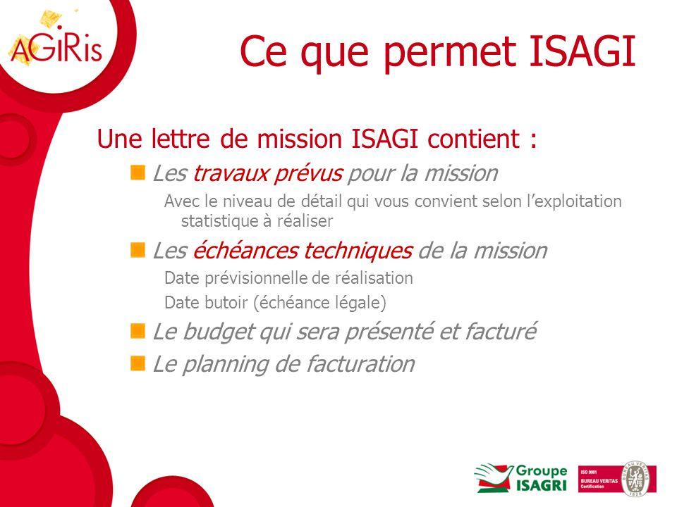 Ce que permet ISAGI Une lettre de mission ISAGI contient :