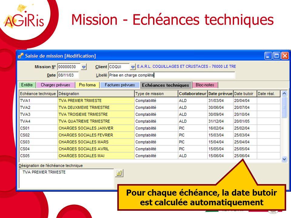 Mission - Echéances techniques