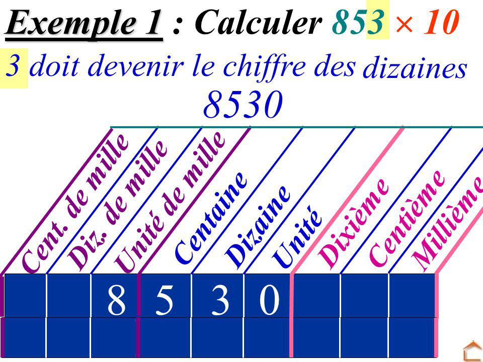 8 5 3 853 Exemple 1 : Calculer 853  10 dizaines