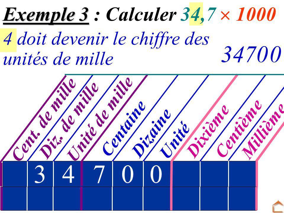 Exemple 3 : Calculer 34,7  1000 4 doit devenir le chiffre des. 347. unités de mille. Cent. de mille.