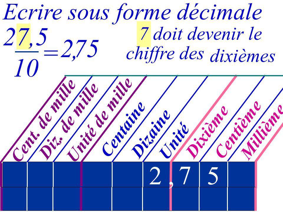 27,5 10 275 , = 2 , 7 5 Ecrire sous forme décimale 7 doit devenir le