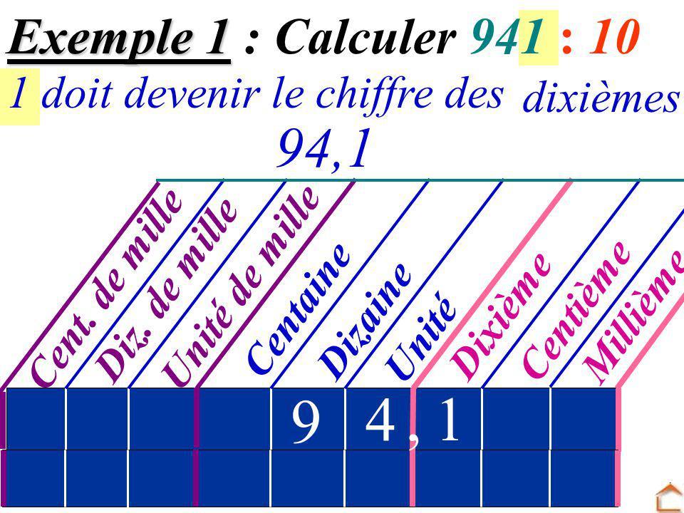 9 4 , 1 94,1 Exemple 1 : Calculer 941 : 10 dixièmes