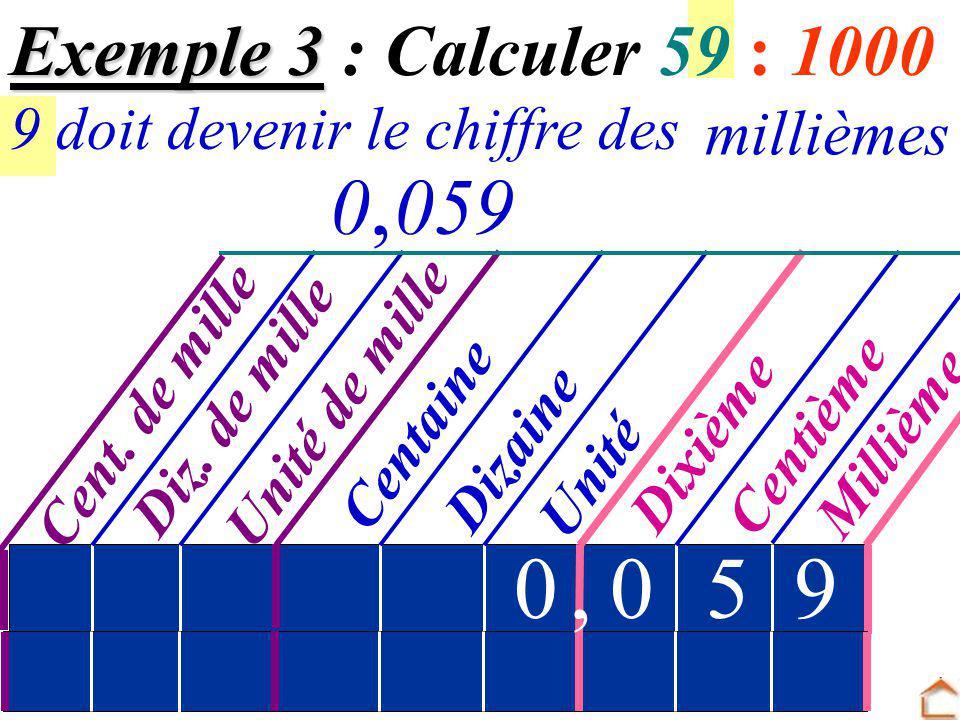 , , 5 9 59 Exemple 3 : Calculer 59 : 1000 millièmes