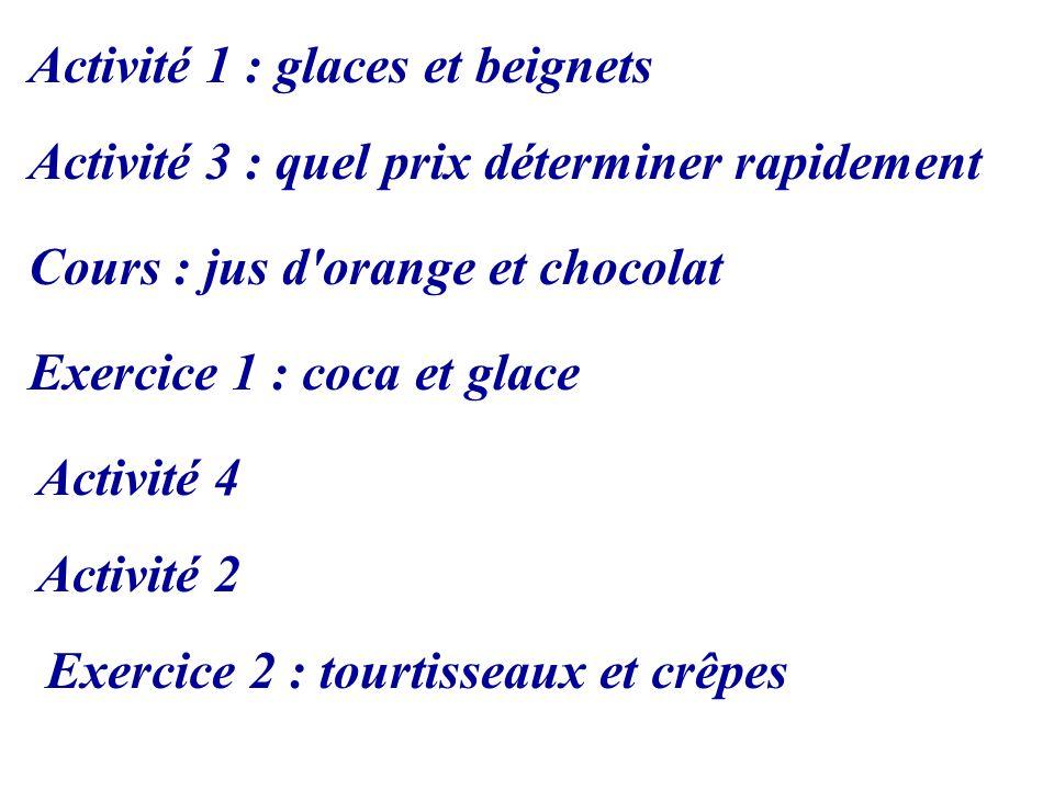 Activité 1 : glaces et beignets