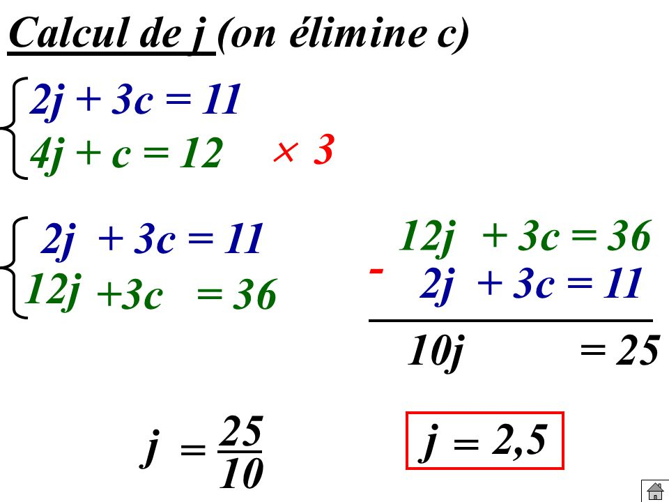 Calcul de j (on élimine c)