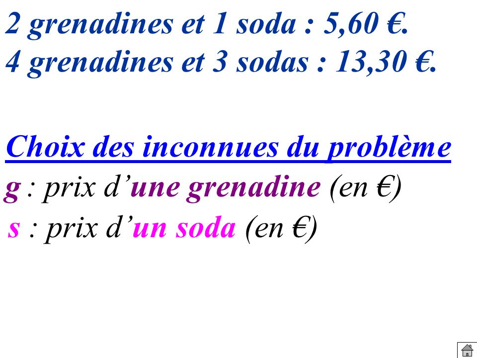 2 grenadines et 1 soda : 5,60 €. 4 grenadines et 3 sodas : 13,30 €. Choix des inconnues du problème.