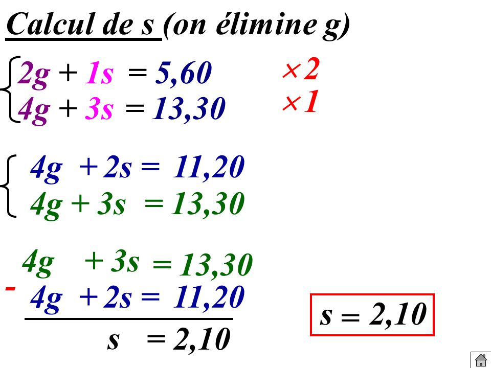 Calcul de s (on élimine g)