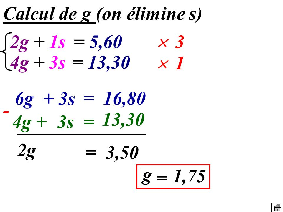 Calcul de g (on élimine s)