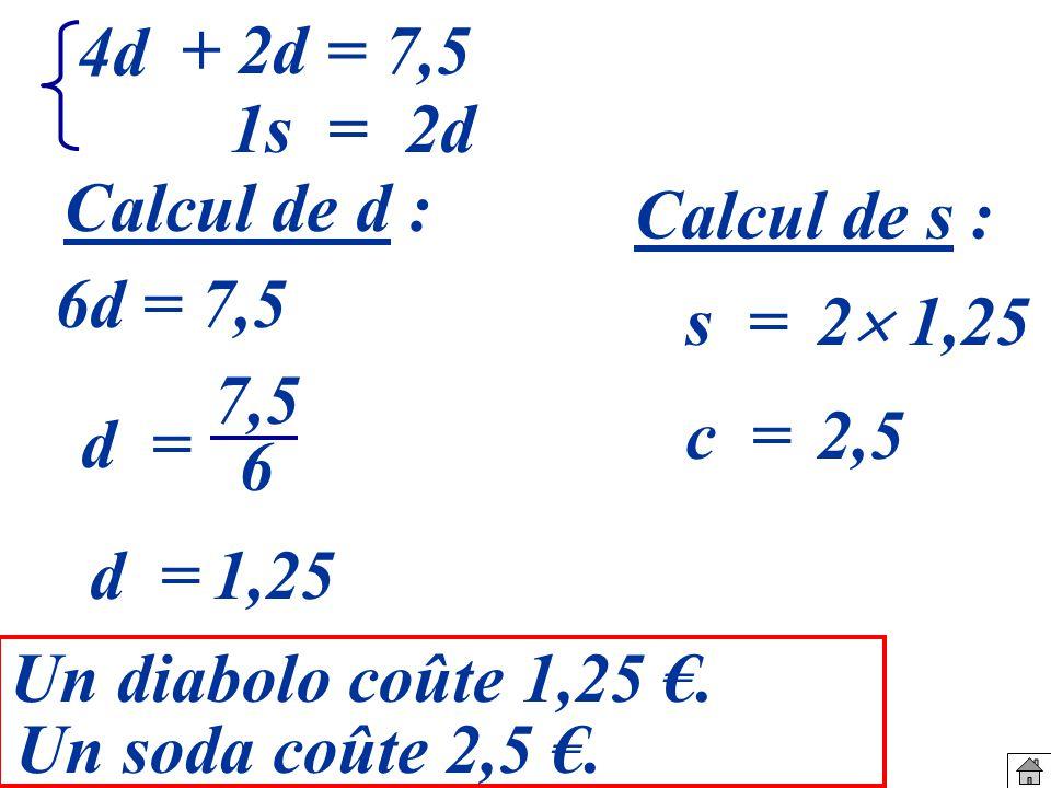 4d + 2d. = 7,5. 1s = 2d. Calcul de d : Calcul de s : 6d = 7,5. s = 2 1,25. 7,5. 6. c =