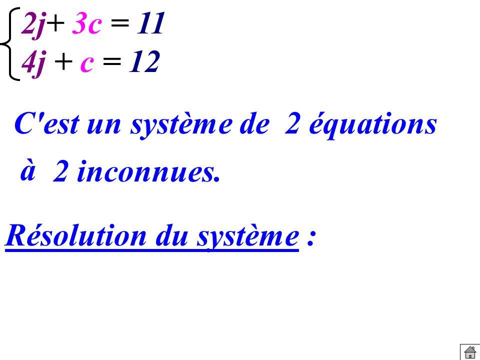 2j+ 3c = 11 4j + c = 12 C est un système de 2 équations à 2 inconnues. Résolution du système :